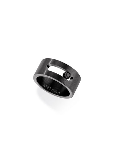 Men's Move Titanium Band Ring with Black Diamond