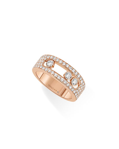 Move Diamond Band Ring in 18K Rose Gold