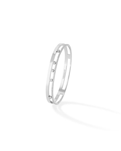 Move Diamond Bangle in 18K White Gold