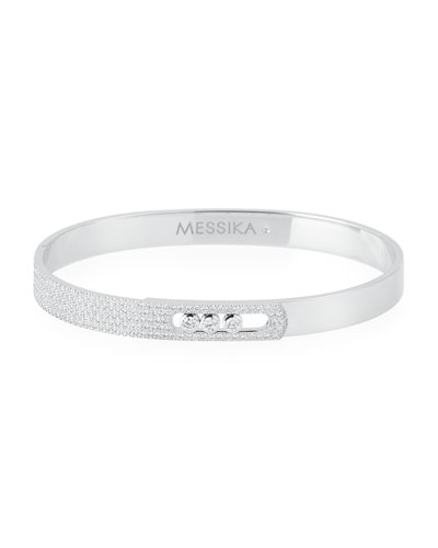 Move Noa Diamond Bangle in 18K White Gold, Size Medium