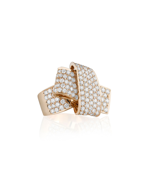 CARELLE Jumbo 18K Rose Gold & Pave Diamond Knot Ring, Size 7