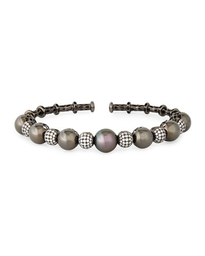 18k Black Gold Tahitian Pearl & Diamond Bangle
