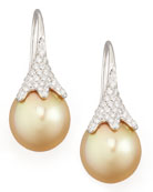 Golden South Sea Pearl and Diamond Drop Earrings, White Gold