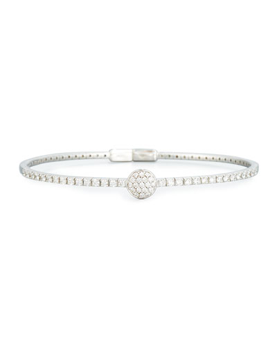 Pavé Diamond Disc Bracelet in 18K White Gold