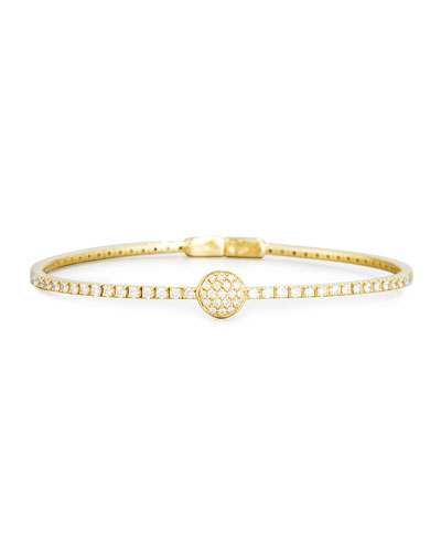 Pavé Diamond Disc Bracelet in 18K Yellow Gold