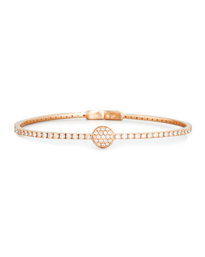 Pavé Diamond Disc Bracelet in 18K Rose Gold