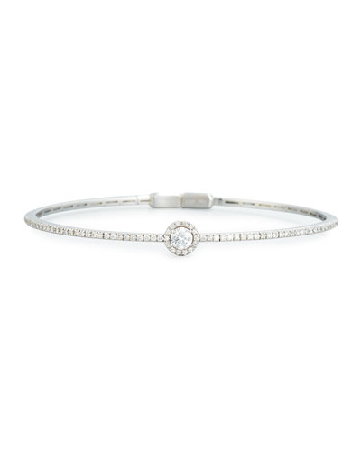 Round White Diamond Bracelet in 18K White Gold