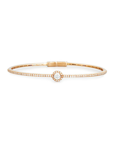 Round White Diamond Bracelet in 18K Rose Gold