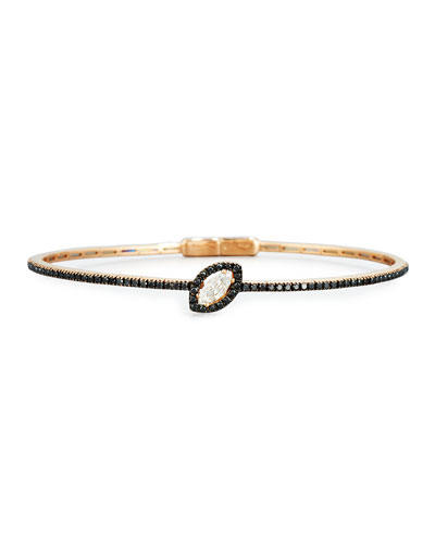 Marquis White & Black Diamond Bracelet in 18K Rose Gold