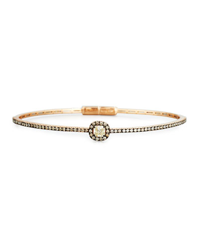 Blackened Rose Gold Bangle with Brown Diamonds