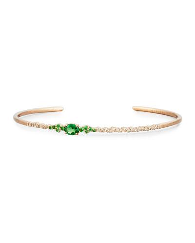 Brown Diamond & Tsavorite Oval Bracelet in 18K Rose Gold