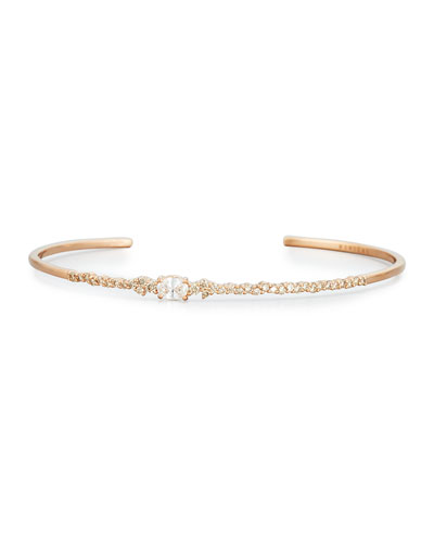 Brown & White Diamond Oval Bracelet in 18K Rose Gold