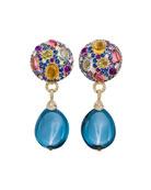 Carnivale Denim Blue Topaz Earrings with Diamonds
