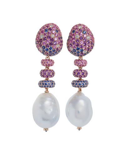 Bliss Sapphire & Baroque Pearl Drop Earrings with Diamonds