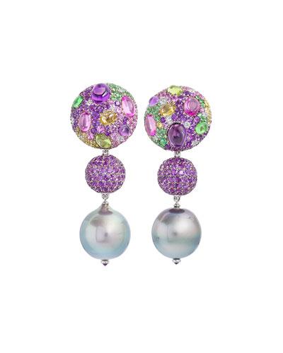 Cookie Mixed Sapphire & Pearl Drop Earrings