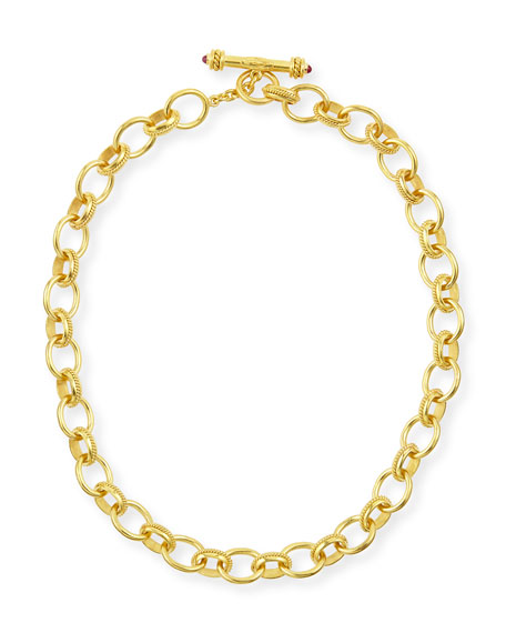 "Elizabeth Locke Lampedusa 19k Gold Link Necklace, 17""L"