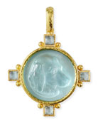 Hound Head Antique 19k Gold Intaglio Pendant, Light Aqua