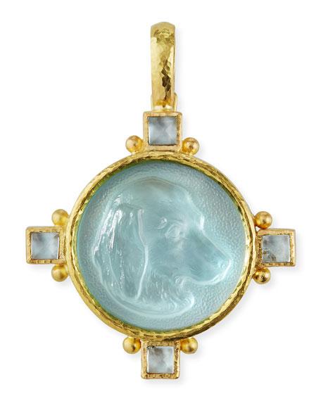 Elizabeth Locke Hound Head Antique 19k Gold Intaglio Pendant, Light Aqua