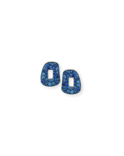 Puzzle Pavé Blue Sapphire Stud Earrings in 18K White Gold