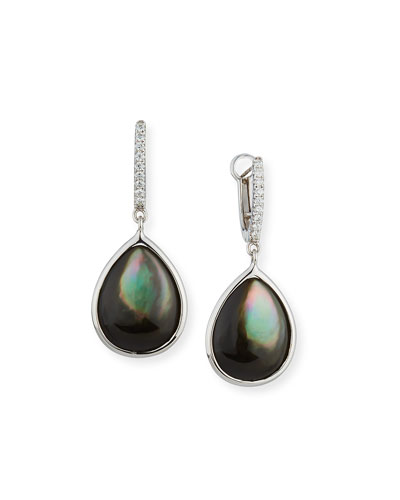 Luna Black Mother-of-Pearl Earrings with Diamonds in 18K White Gold