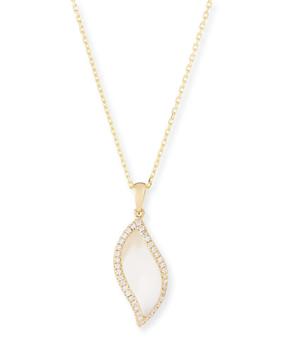 Venus Curved Mother-of-Pearl Pendant Necklace with Diamonds in 18K Yellow Gold