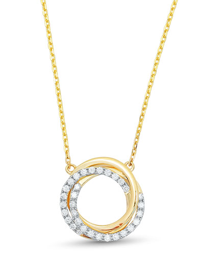 Small Twist Diamond Halo Necklace in 18K Yellow Gold