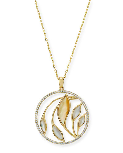 Medium Venus Garden Mother-of-Pearl Pendant Necklace with Diamonds in 18K ...