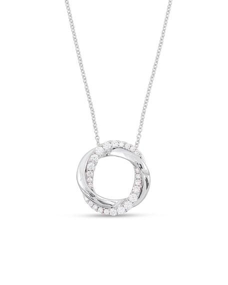 Frederic Sage 18K White Gold Interlocking Halo Diamond Pendant Necklace