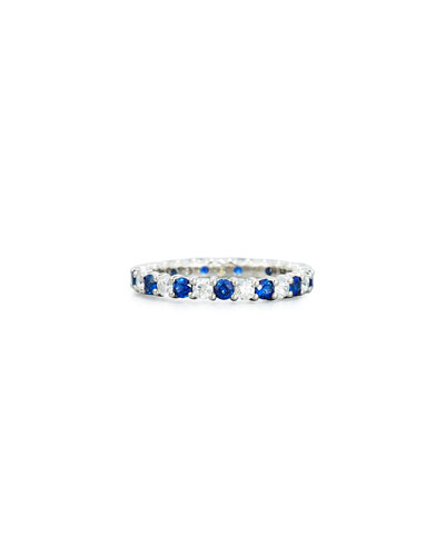 Prong-Set Diamond & Sapphire Band Ring in Platinum, Size 6.5