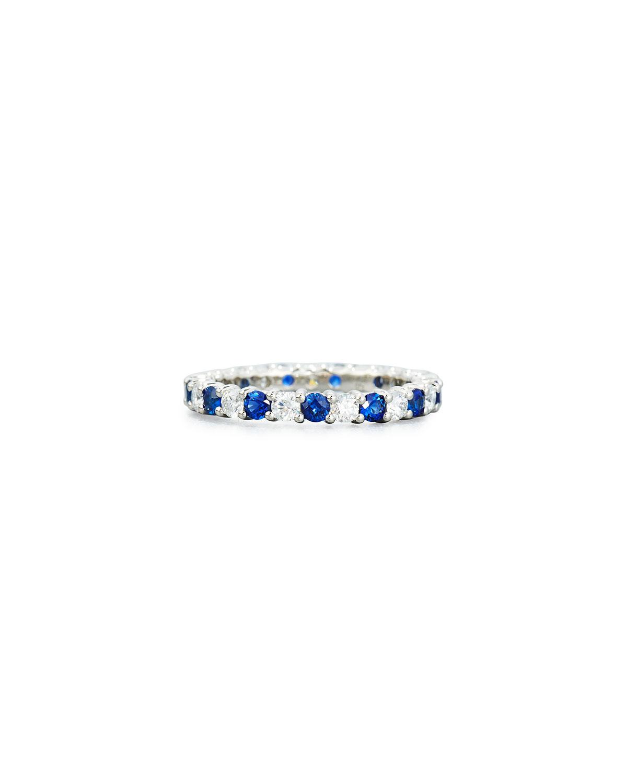 Prong-Set Diamond & Sapphire Band Ring in Platinum