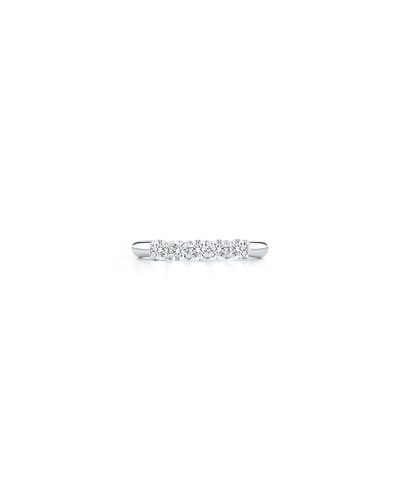 AMERICAN JEWELERY DESIGNS FIVE-DIAMOND BAND RING IN PLATINUM, 0.55 TDCW, SIZE 6.75