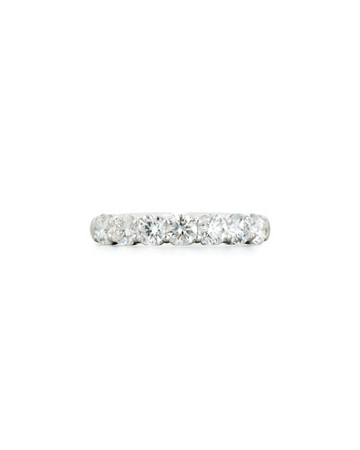 AMERICAN JEWELERY DESIGNS Half-Diamond Band Ring In 18K White Gold, 1.47 Tdcw, Size 6.75