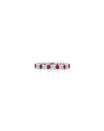 AMERICAN JEWELERY DESIGNS Ruby & Diamond Eternity Band In Platinum, Size 6.5