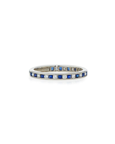 Channel-Set Diamond & Sapphire Band Ring in Platinum, Size 7