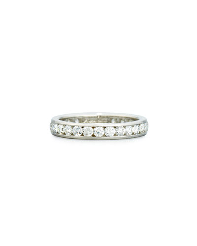 Channel-Set Round Diamond Band Ring in Platinum, 1.49 tdcw, Size 7