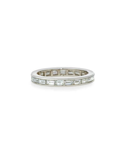 Channel-Set Baguette Diamond Band Ring in Platinum, 2.0 tdcw, Size 7