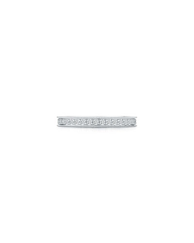 Channel-Set Diamond Eternity Band Ring in 18K White Gold, Size 7