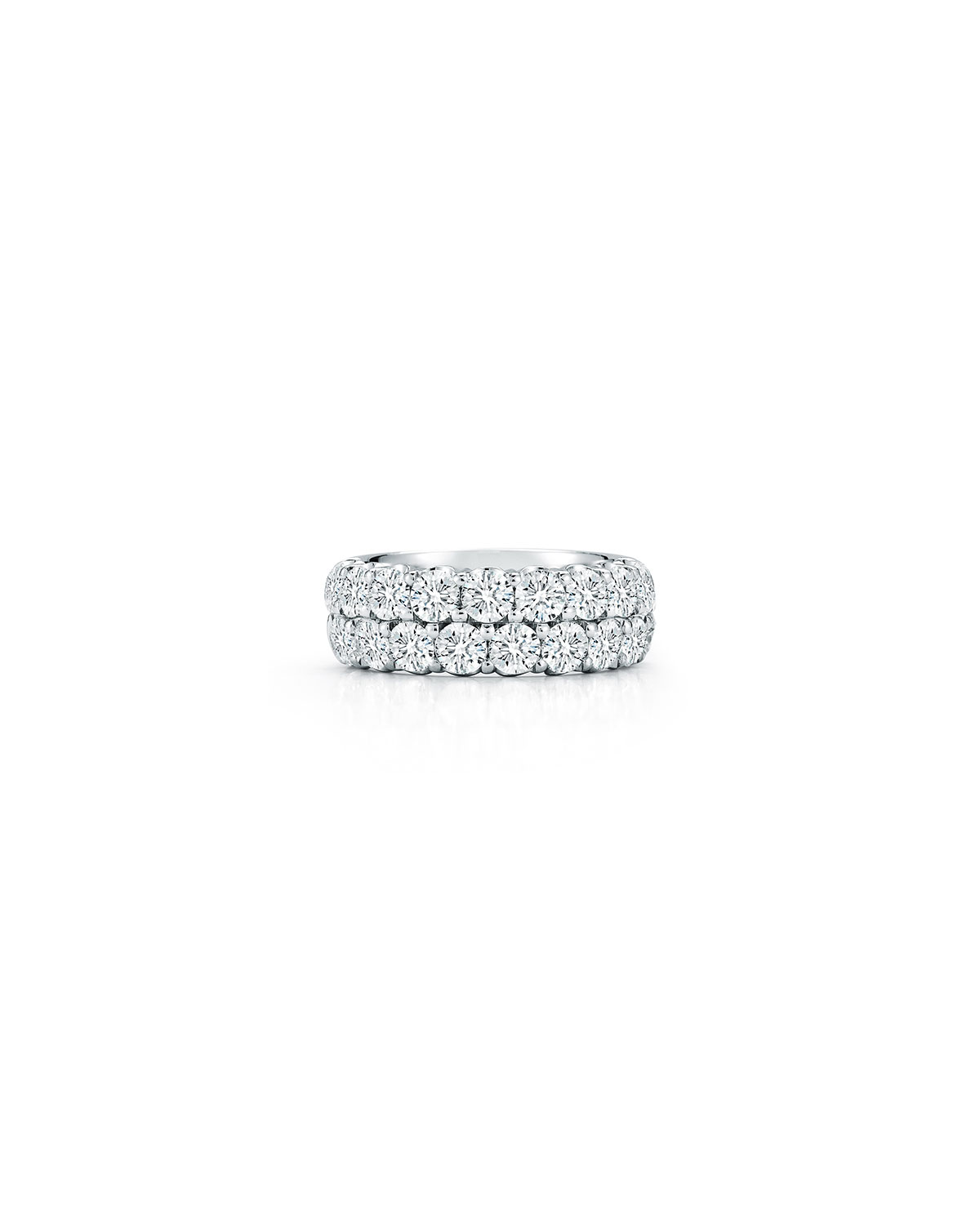Two-Row Diamond Eternity Band Ring in 18K White Gold