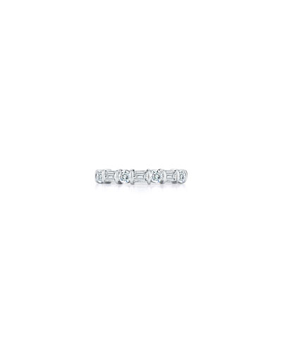 Round & Baguette Diamond Eternity Band Ring in Platinum, 0.77 tdcw, Size 6.75