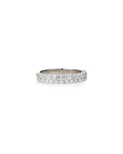 Two-Row Diamond Eternity Bang Ring in 18K White Gold, 0.90 tdcw, Size 6.75