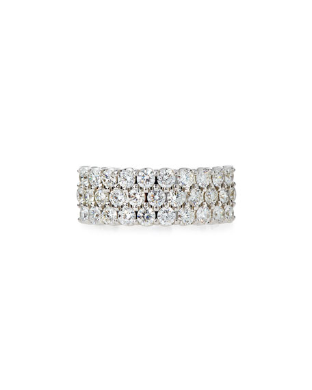 NM Diamond Collection Three-Row Diamond Eternity Band Ring in 18K White Gold, 2.17 tdcw, Size 6.75