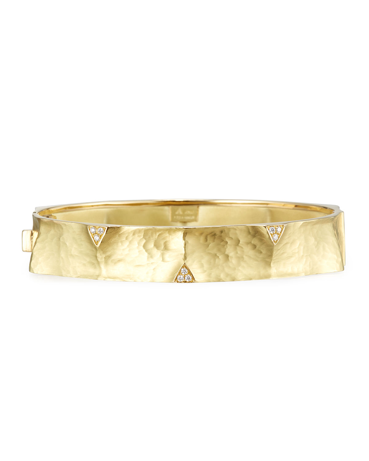 VENDORAFA HAMMERED 18K GOLD BANGLE WITH DIAMOND TRIANGLES