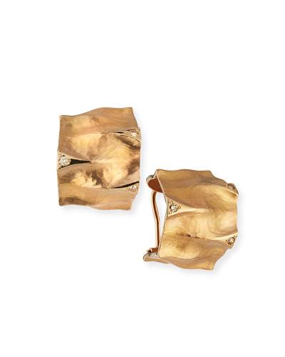 Dune Textured 18K Rose Gold Huggie Earrings with Brown Diamonds