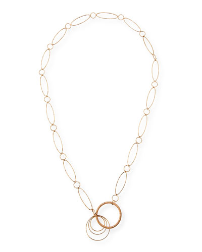 18K Rose Gold Oval Link Necklace with Brown Diamonds, 36