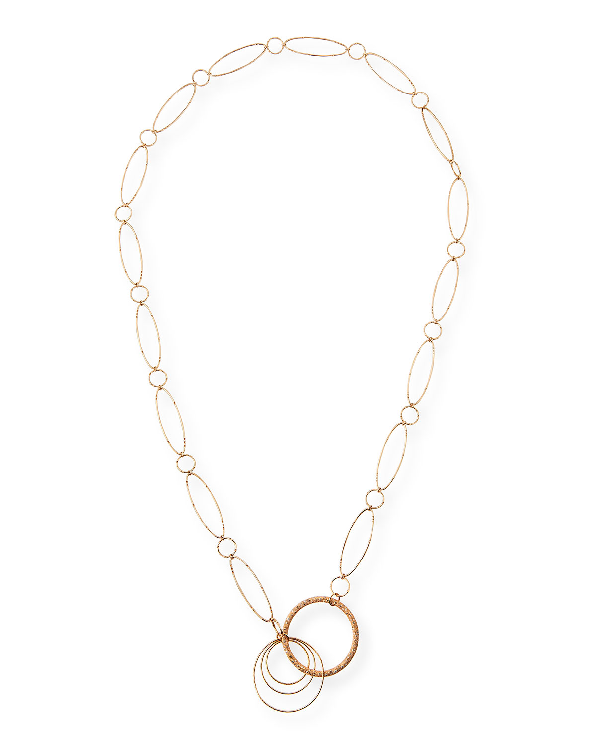 VENDORAFA 18K ROSE GOLD OVAL LINK NECKLACE WITH BROWN DIAMONDS, 36""
