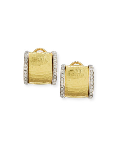 Hammered Square Earrings with Diamonds in 18K Gold