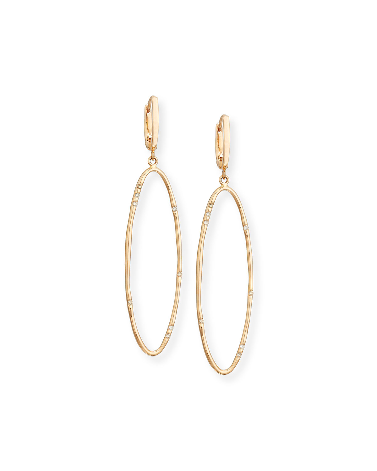VENDORAFA ELONGATED OVAL DROP EARRINGS WITH DIAMONDS