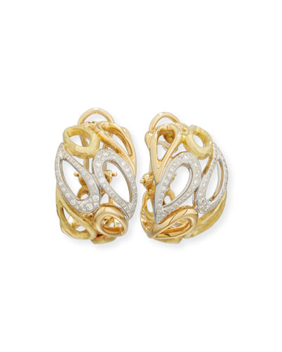 Teardrop Clip Earrings in 18K White & Yellow Gold with Diamonds