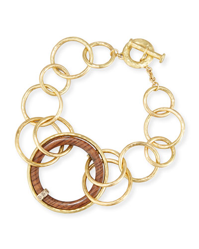 18K Gold & Wooden Circle Link Necklace with Diamonds