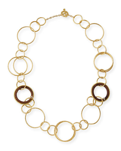 18K Gold & Wooden Circle Link Necklace with Diamonds, 27